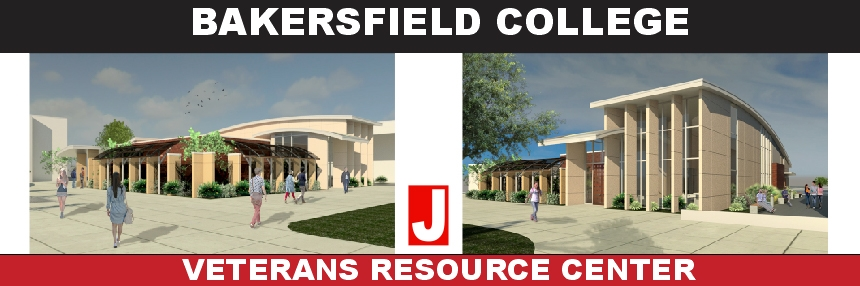 Bakersfield College Veterans Resource Center renderings of the front and side of the future building.