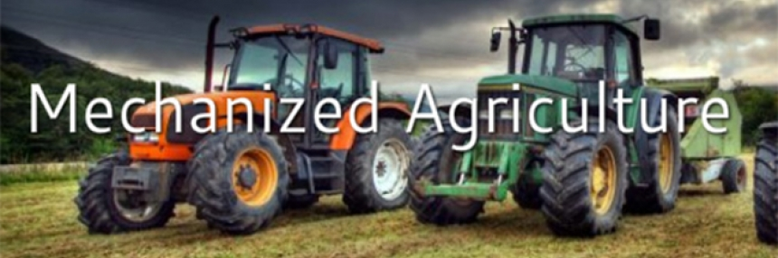 """Mechanized Agriculture header - tractors, with words """"Mechanized Agriculture"""""""
