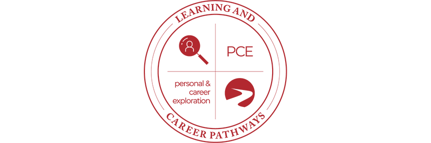 Learning & Career Pathways Personal & Career Exploration PCE, logo.