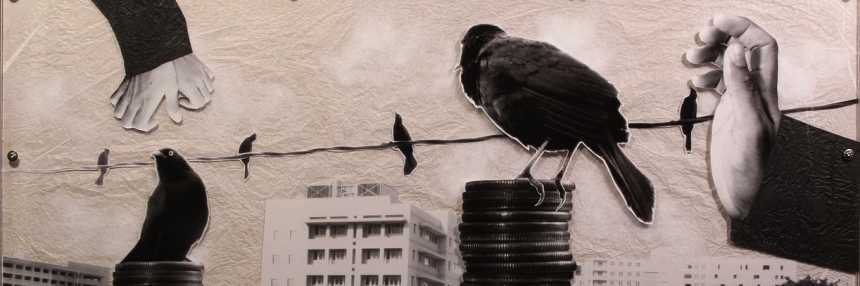 Sample of Quique Rivera's art with birds on a wire.