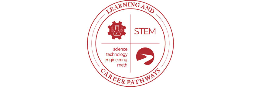 Learning & Career Pathways Science, Technology, Engineering & Math STEM, logo.