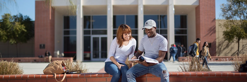 Two students sit upon a brick wall studying.