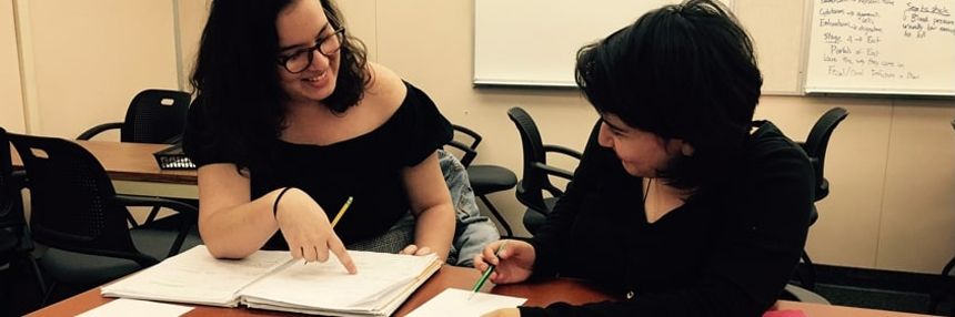 Female student tutoring another female student