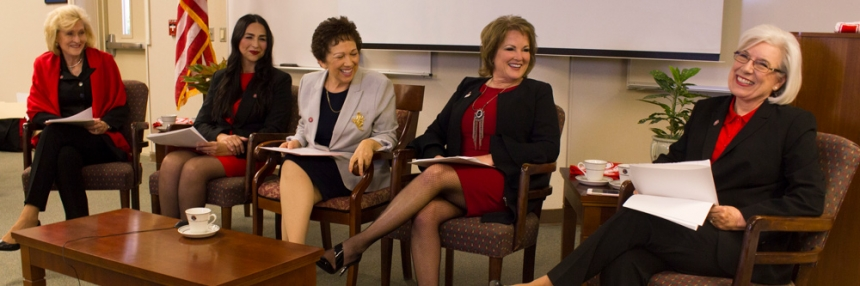 Panel of five women discussing leadership
