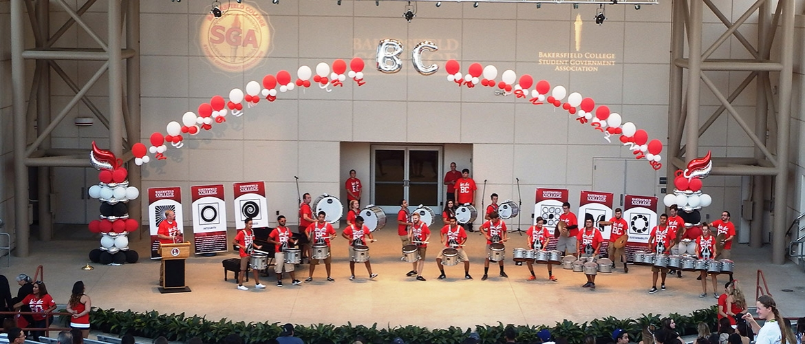 Drumline performing at convocation.