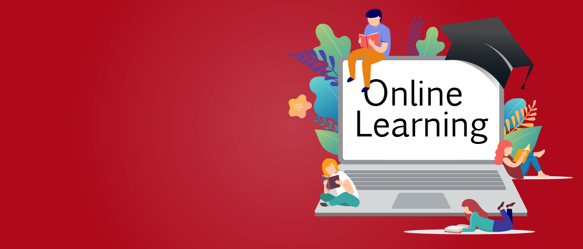 Online Learning on a laptop with tiny people, flowers and cap on and around the laptop.