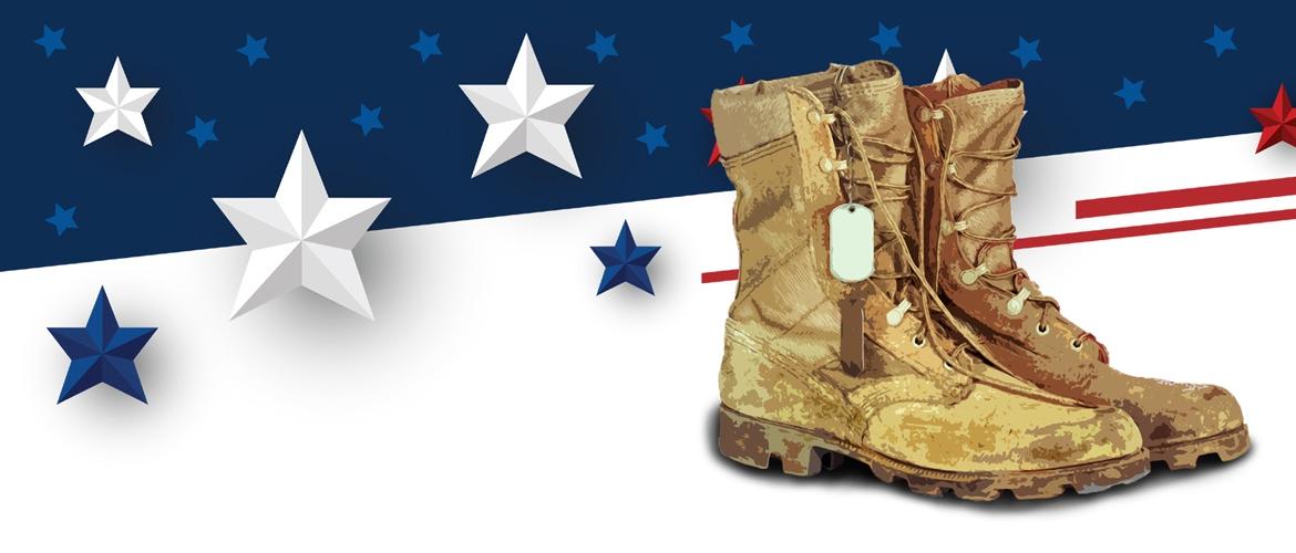 Military boots on stars and stripes background