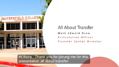 Powerpoint Slide from Mark Osea's All About Transfer Presentation