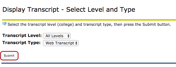 Submit button under Transcript Level and Transcript Type.