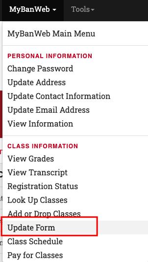 Screenshot of the MyBanweb dropdown and Update Form item.