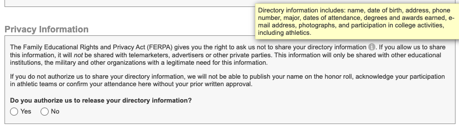 The privacy statement section of the form.