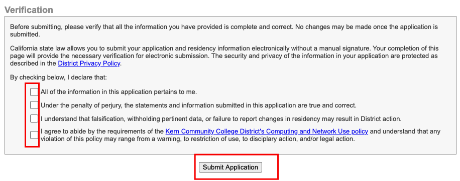 Verification section of the form with 4 declaration boxes that must be checked and the submit application button.