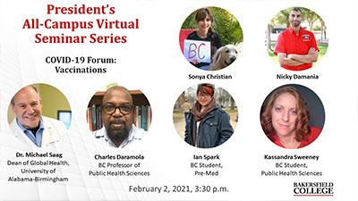 Presenters at Virtual Seminar Series on COVID-19 Feb. 2, 2021
