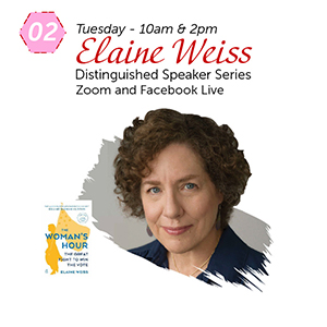 Elaine Weiss' portrait and Woman's Hour book cover.