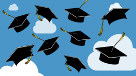Nine Graduation Caps floating in the air with clouds