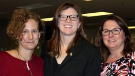 L to r: Dr. Sarah King, Dr. Lynn Tincher-Ladner, and Dr. Christine Swiridoff. Both Dr. King and Dr. Swiridoff serve as PTK advisors for Cerro Coso students