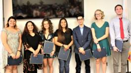 Caption:  Students receiving Department Awards for Outstanding Achievement (l to r):  Olivia Ortiz, Industrial Arts; Maria Guishard, Visual and Performing Arts; Carol Blair, English and Foreign Languages and Social Sciences; Jennifer Martinez, Allied Health; Enrique Franco Martin, Business and Information Technology;  Brynn Turpin, Mathematics, and Noah Bailey, Science.  Not pictures Christina Litster, Paralegal.