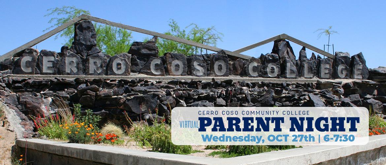 Virtual Parent Night - Cerro Coso stone sign