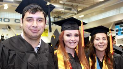 Student Speakers for Cerro Coso Community College's 42nd Annual Commencement Ceremony held at the Ridgecrest Campus on Friday, May 15, 2015 (l to r) : Nicholas Elder, Kristiana Ogilvie, and Beverlee Wood.