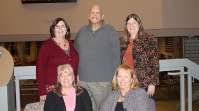 Back l to r: Laura Vasquez (Director of Basic Skills), Herman Foster (Welding Faculty), Paula Suorez (Director of Students and Counseling).  Seated l to r: Annette Hodgins (Director of Nursing) and Valerie Karnes (C6 Project Director)