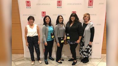 L to r: Professor Lucilla Gonzalez-Cirre, Ashley Douglas, Ruby Horta, Tanya Frandsen, and Professor Laura Vasquez.