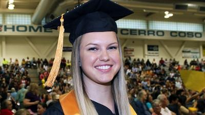 Graduate Rachel Lebsock at the Ridgecrest Campus Ceremony
