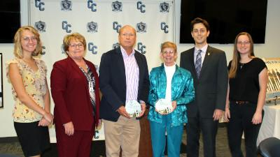 Student Brynn Turpin, Cerro Coso President Jill Board, Ridgecrest Regional Hospital CEO Jim Suver, CCCC Foundation member Jan Bennett, and students Cameron Reese and Abigail Voigt pose for a picture during the President's Circle Luncheon held on Thursday, October 24, 2019 at the college.