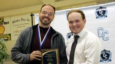 Professor Matt Jones received the Full-Time Faculty award from SGCC President Kurtis Williams.