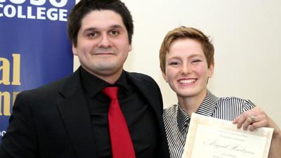 Students Paul Goodman and Abigail Hartman.