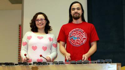 Amber Ricker and Alex Clark on the marimba
