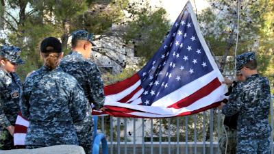 Flag Raising Ceremony at Cerro Coso Community College performed by U.S. Naval Sea Cadets.