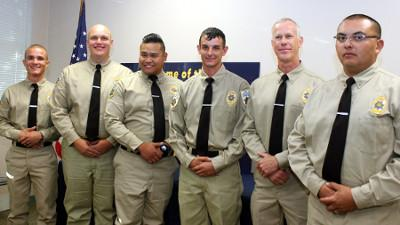 Cerro Coso Law Enforcement Academy Levell II graduates (l to r) Jayson Arnold, Joshua Beard, Lyndon Canonigo, Joseph Schatz, Curt Schneider, and Michael Ogas