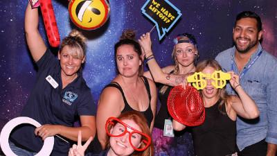 CCCC staff members Katie Bachman, Kellen Nelepovitz, Kari Benson, Amber Reed, Lauren Falk, and Fabian Meneses have some fun in the photo booth at the 2018 event.  More than 400 people enjoyed this signature event of the Foundation's last year.