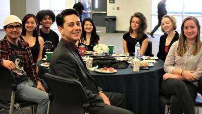Presenters at the CCCC Foundation's Spring President's Circle brunch included students l to r: Gideon Ondap, Rachel Quan, Michael Skipworth, Cameron Reese (in front), Nicole Hu, Carol Blair, Emma Gilmartin, and Abigail Voigt