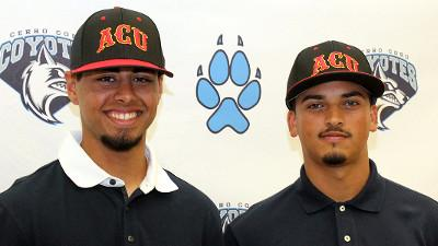 Two Cerro Coso Baseball players, outfielder Rey Torres (left) and pitcher Jose Martinez (right)