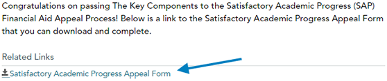 Picture of where to download the SAP Appeal Form