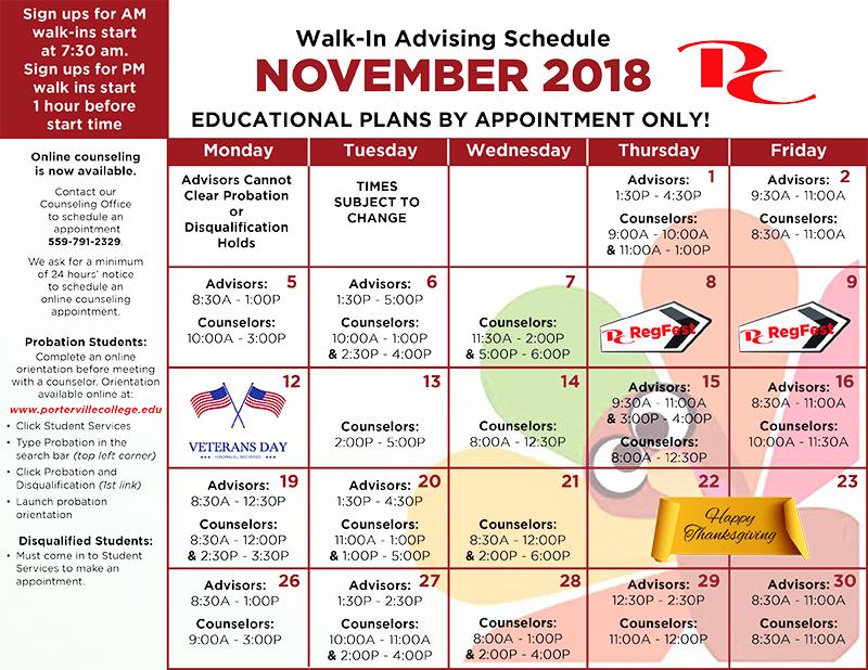 advising schedule