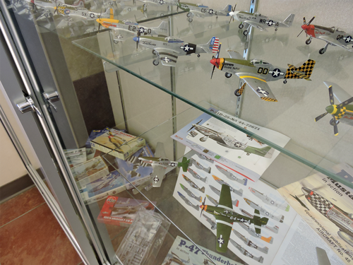 Library lobby exhibit of over 80 models of P-51 Mustangs.
