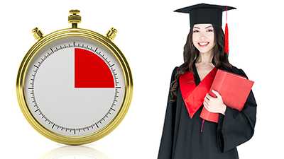 graduate with stopwatch