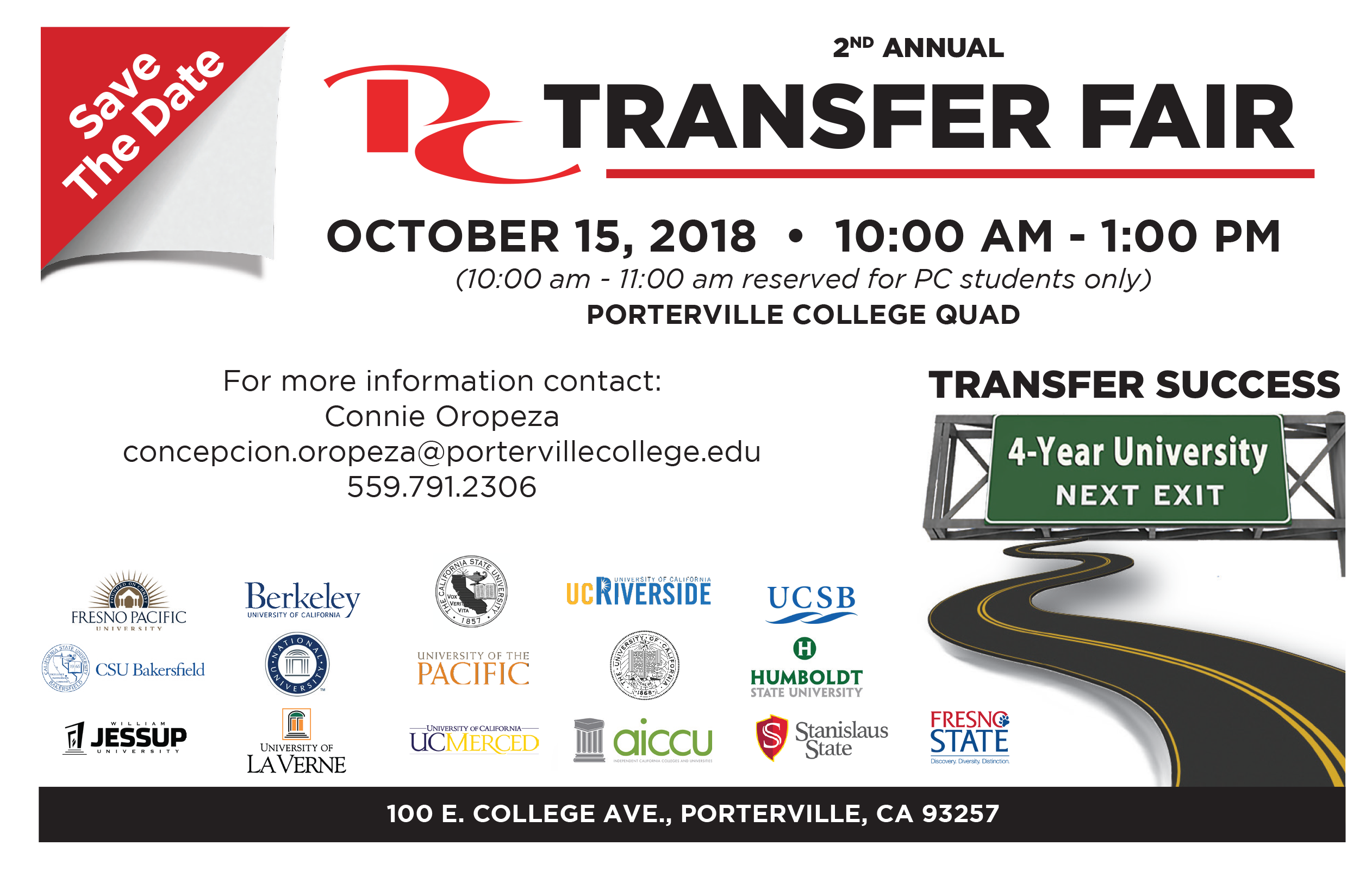 Transfer Fair Flyer with college logos. See DRC for accessible version